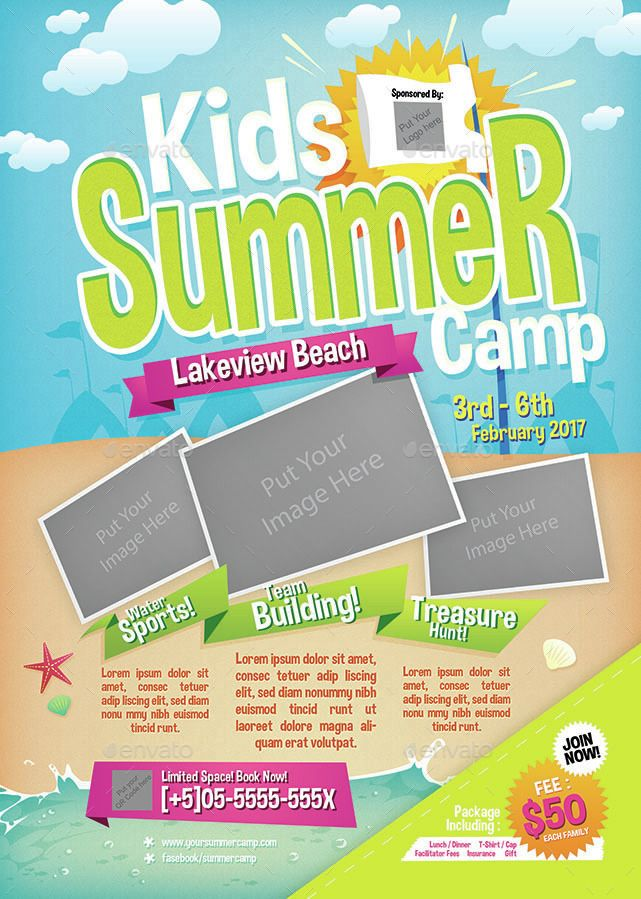 Kids Summer Camp Flyer Summer Kids Flyer Camp