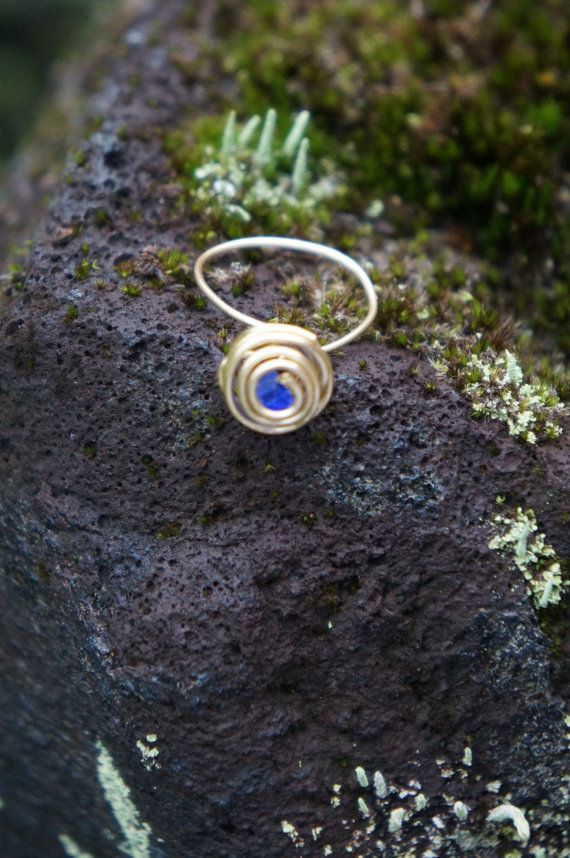 Hawaii Dark Blue Sea Glass Wire Wrapped Ring by AquaWai on Etsy