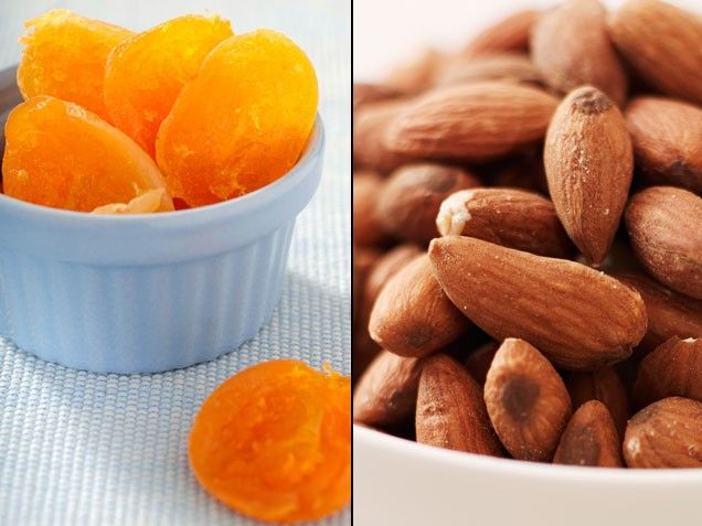 Apricots + Almonds =  A Tip-Top Ticker | Stay-Well Strategy: For a satisfying, heart-healthy snack, combine a quarter-cup each of dried apricots and raw almonds. | From: ivillage.com