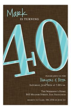 Turning 40 is a big deal in a man's life. Saying that you're 40 years old is a little rough. A man may act tough and say it's just a number, but he is a liar and needs a party. You order that man some custom printed party invitations online right now. Throw him a party to let him know that this is what happens when you turn 40. You party. That's it. Get prepared for a life of parties and start with this Look Who Is Forty Invitation. Next up, 41. Start planning that birthday party now. He's…