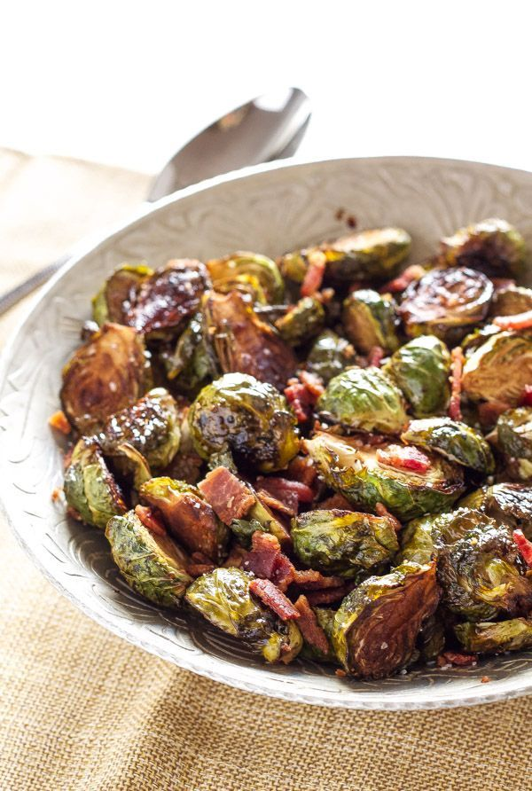 Brussels sprouts roasted with balsamic vinegar and maple then tossed with bacon are the perfect side dish!