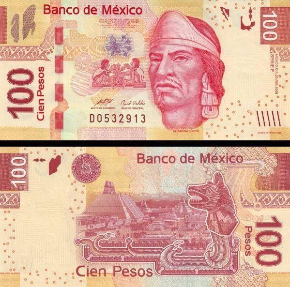 México 100 pesos 2008-2012 Motivo anverso Nezahualcóyotl, reverso ruinas de Tenochtitlán