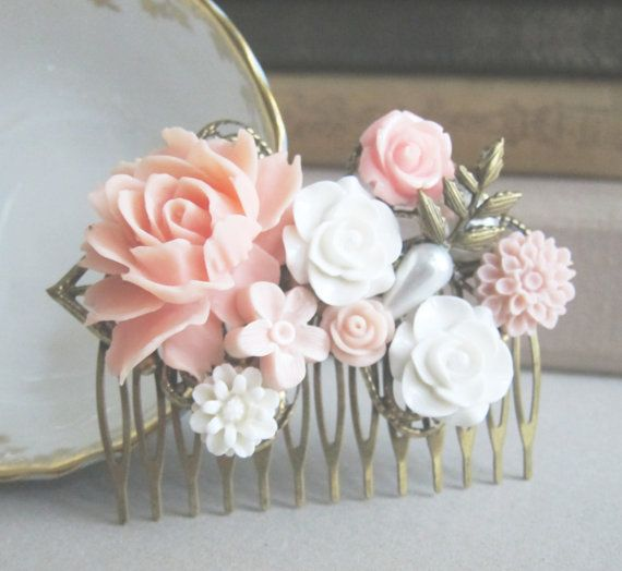 Pink Hair Comb Peach Wedding Pastel Colors Romantic Soft Dreamy Bridesmaids Gift Bridal Head Piece Vintage Style Maid of Honor Mother Sister on Etsy, $30.00