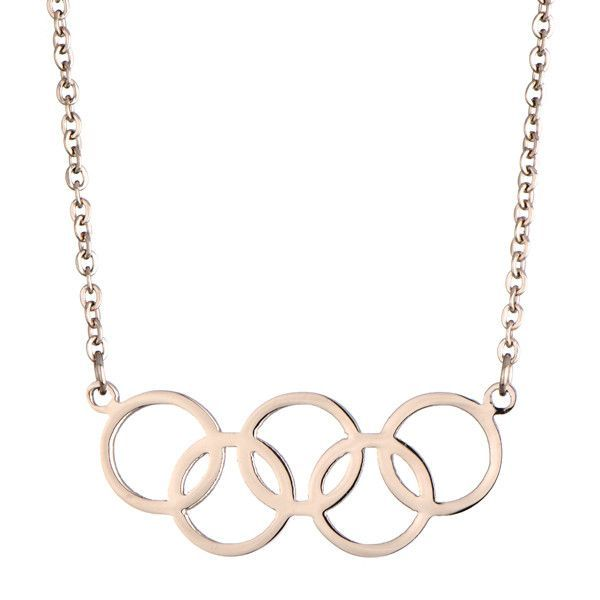 Rose Gold 2016 Rio Summer Olympic Symbol Necklace - Olympics Five Rings Jewelry