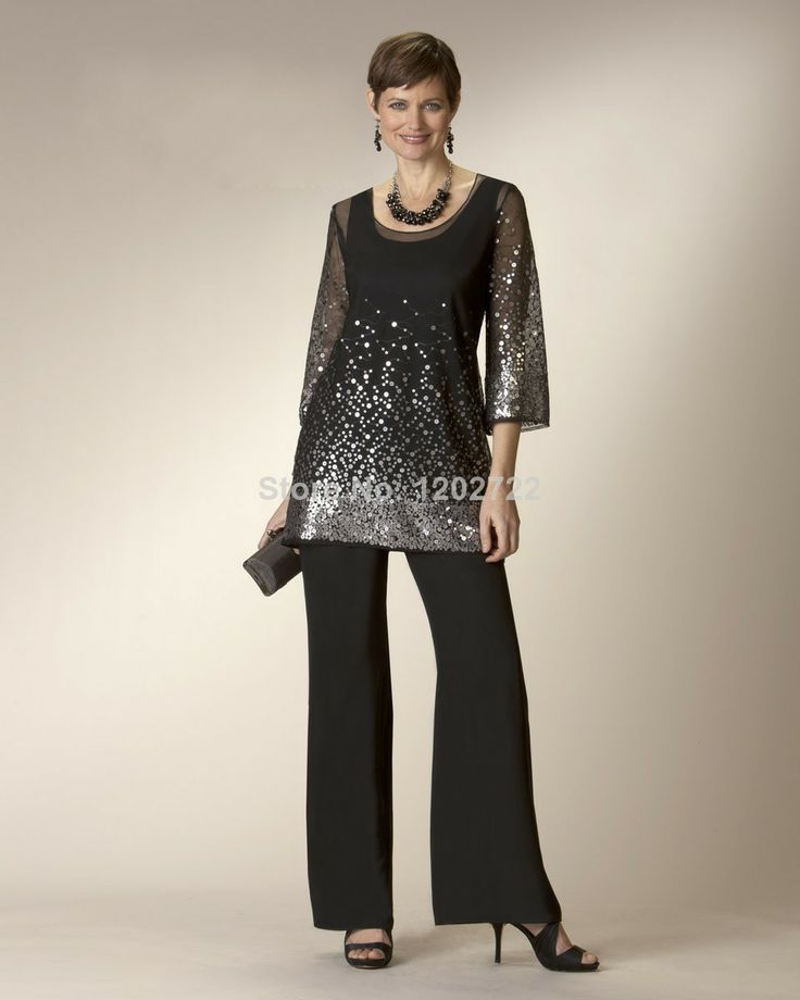 free shipping Sexy Black Chiffon Mother Of The Bride Pant Suits See Through Long Sleeve Sequins With Tank Scoop Mother Dress US $178.00