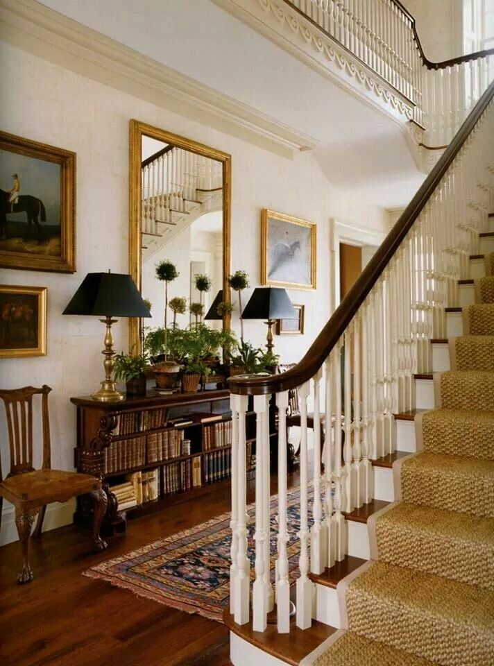 Lovely Front Hall And Staircase. Sea Grass Stair Runner, Hall Table Is A  Low Bookcase Bookcase Width Takes Up Less Space Than A Table Would But  Still Gives ...