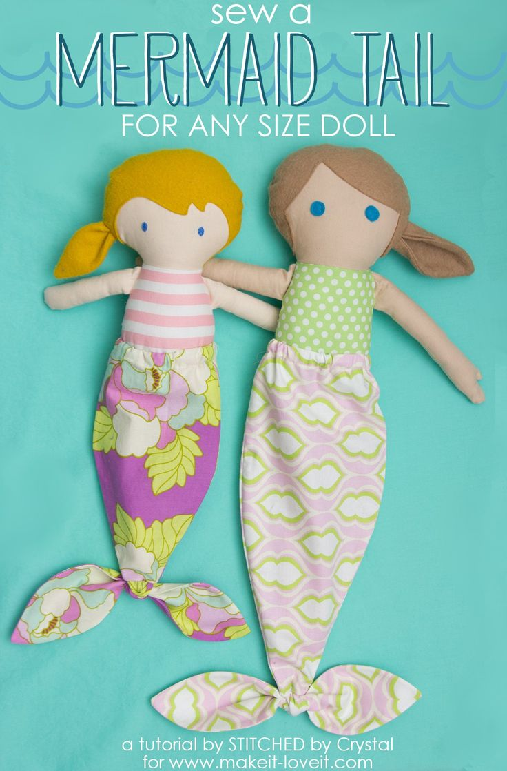 A tutorial to sew a mermaid tail for any size doll! This easy project makes a great summer accessory for your little one's dolls!