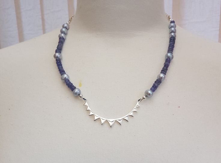 Tanzanite Necklace freshwater cultured pearl by SweetgemsDesign