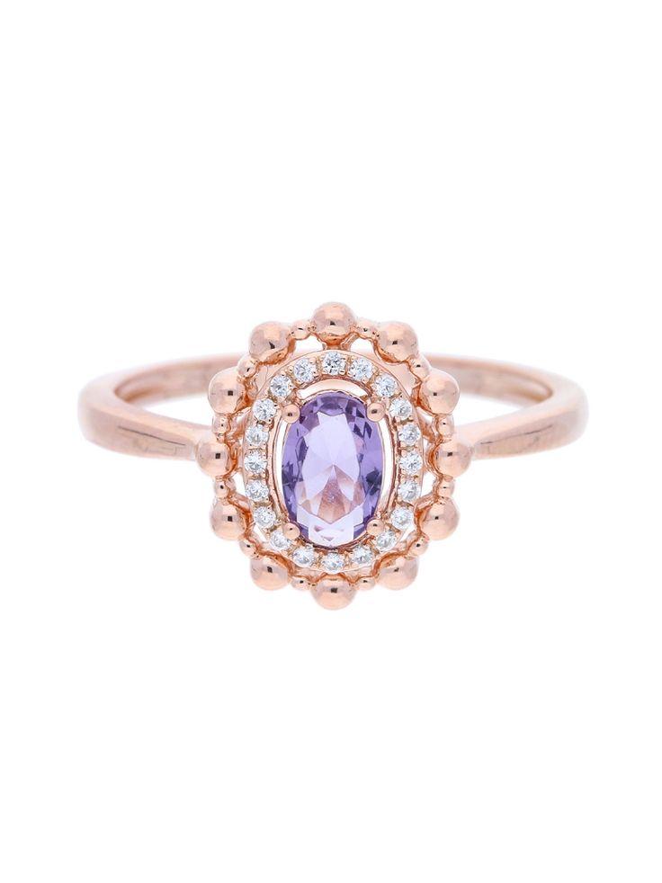 Anéis delicados, Banhado a ouro rosa 1 míc, Zircónia cúbica, Violeta, Claro, Oval, Feito à mão