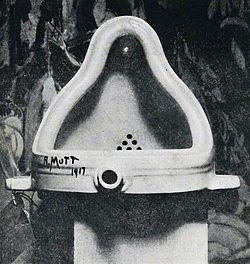 The most prominent example of Duchamp's association with Dada was his submission of Fountain, a urinal, to the Society of Independent Artists exhibit in 1917. Artworks in the Independent Artists shows were not selected by jury, and all pieces submitted were displayed. However, the show committee insisted that Fountain was not art, and rejected it from the show. This caused an uproar amongst the Dadaists, and led Duchamp to resign from the board of the Independent Artists.