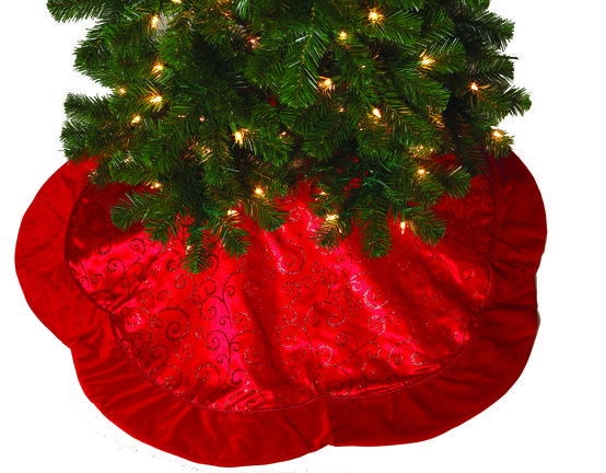 """48"""" Red Glitter Tree Skirt with a Scalloped Boarder"""