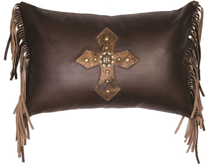 crusades cross on dark brown leather throw pillow 12x18