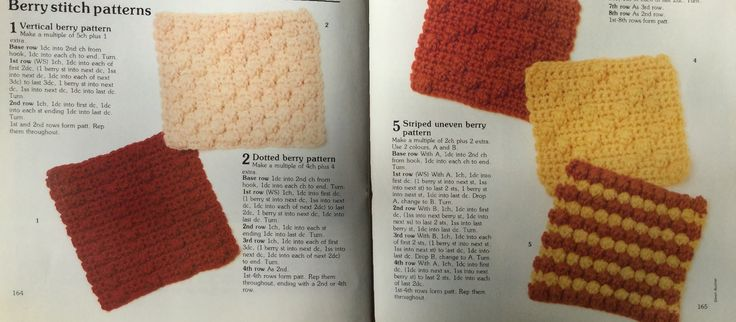 Berry Stitch patterns.  Crochet stitch library. Busy Needles. Part 6