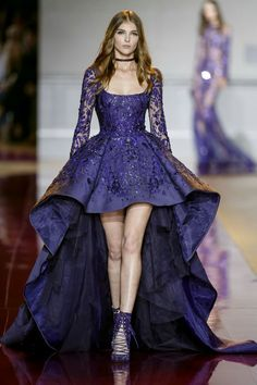 Zuhair Murad Fall winter 2016 collection- Long fully beaded dress in violet dupion, with an assymetrical skirt
