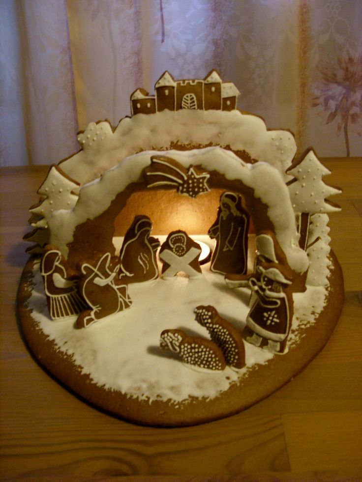 gingerbread nativity - I like this better than any regular gingerbread house covered in candy!