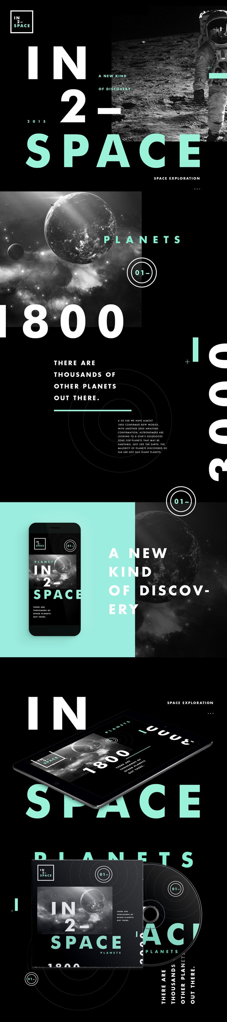 IN2–SPACE: A collection of awesome facts and information about space. This development includes elements such as colour palette, iconography, cover art, web and mobile design.All works © STUDIOJQ 2015