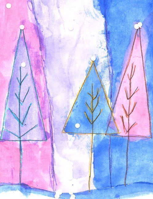 Art Projects for Kids: Abstract Winter Trees.