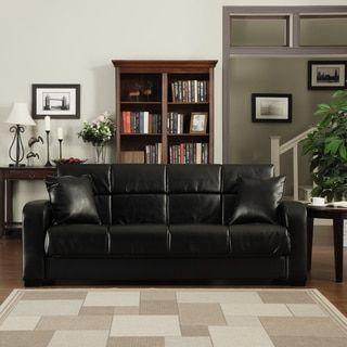 Portfolio Turco Convert A Couch Black Renu Leather Futon Sofa Sleeper    Free Shipping