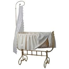 American Victorian Brass Bedroom Infant Bassinet 19th Century