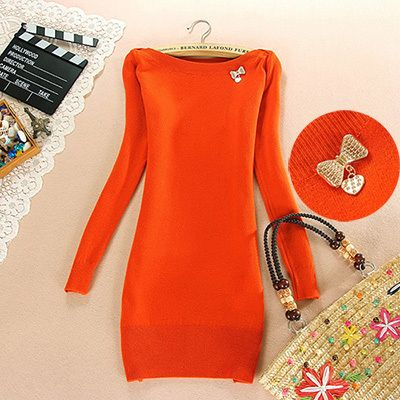 Women Sweater Dress Pullovers Slash Neck Long Sleeve Slim Hip Autumn Winter Warm Cashmere Knitted Tops Fashion 2013 6Colors-in Pullovers fro...