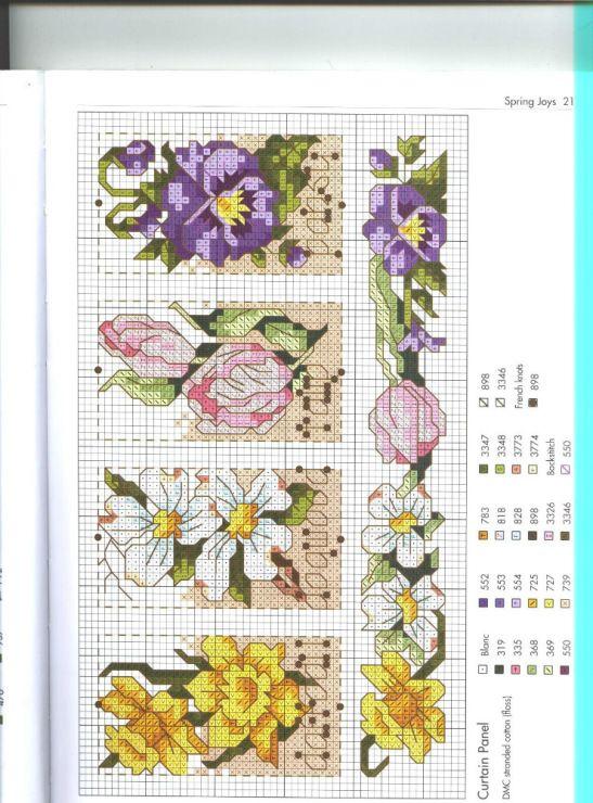 Cross stitch - flowers: daffodil, dogwood, tulip, pansy - small motifs (free pattern - chart)