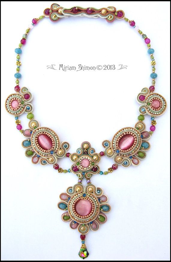 Soutache beaded Chain of Emotion Necklace in by MiriamShimon, $325.00