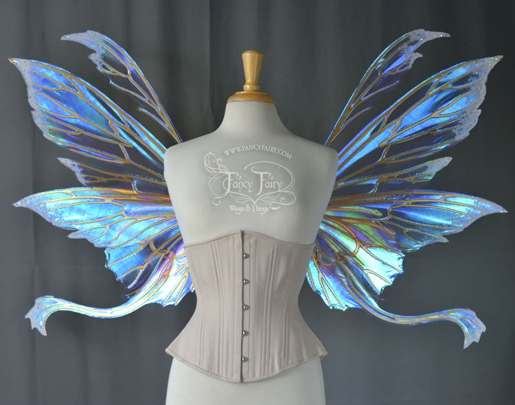 "Aynia / Guinevere ""Sugar Plum Fairy Queen"" Iridescent Fairy Wings with Gold Veins, Flocking and Swarovski Crystals"