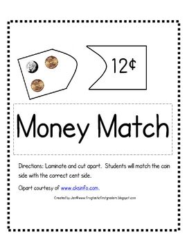 Print, laminate and cut apart money cards. Students will count a combination of pennies, nickels, and dimes up to $1.00 on cards and match them wit...