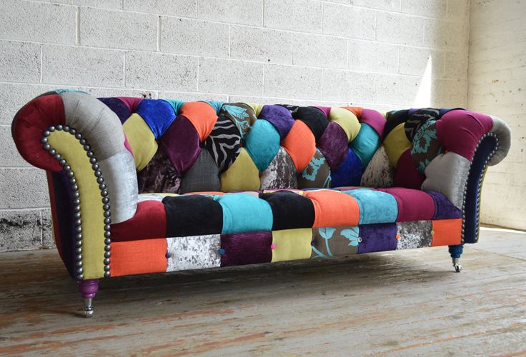 Modern British and handmade Walton Patchwork Chesterfield Sofa. Totally unique fabric 3 seater, shown in multicoloured fabrics. | Abode Sofas