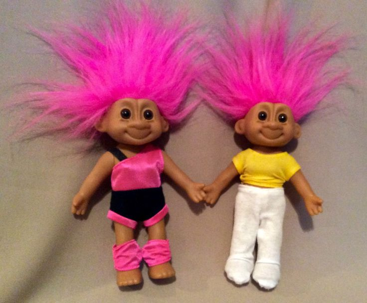 Vintage Exercising Troll Dolls with Pink Hair in their Exercise or Jogging Outfits, Outfits have Velcro Closures - pinned by pin4etsy.com
