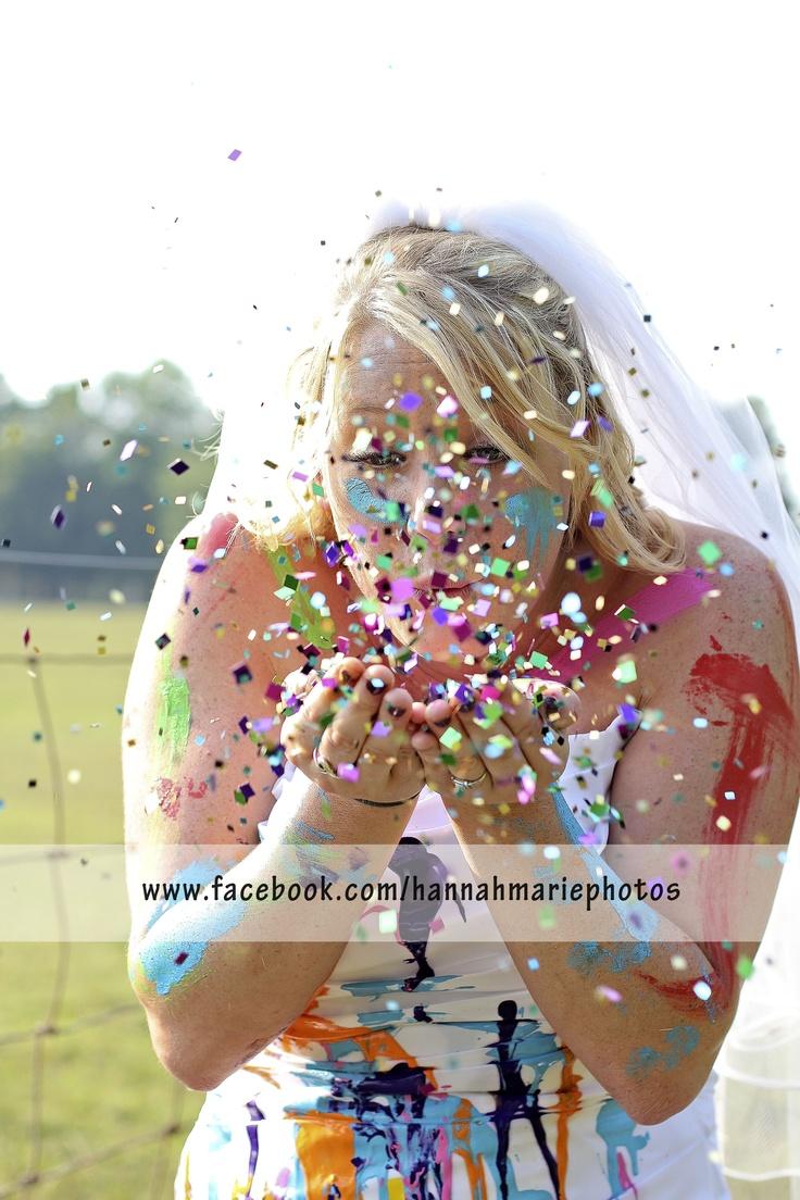 trash the dress session! #paint #confetti #TTD. © Hannah Marie Photography