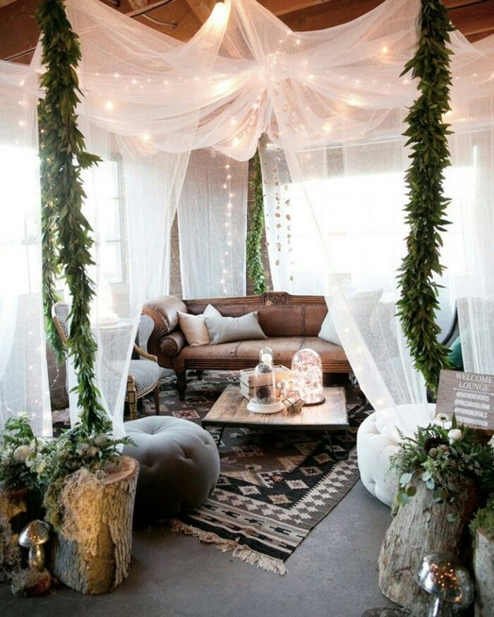 Happy Spaces Make a cozy room around the dancefloor with some thin curtains or fabrics hanging from the ceiling