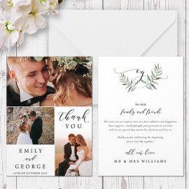 Organic Watercolour Leaf wedding thank you card, Minimalistic Design, Professionally Printed, Peach Perfect Australia