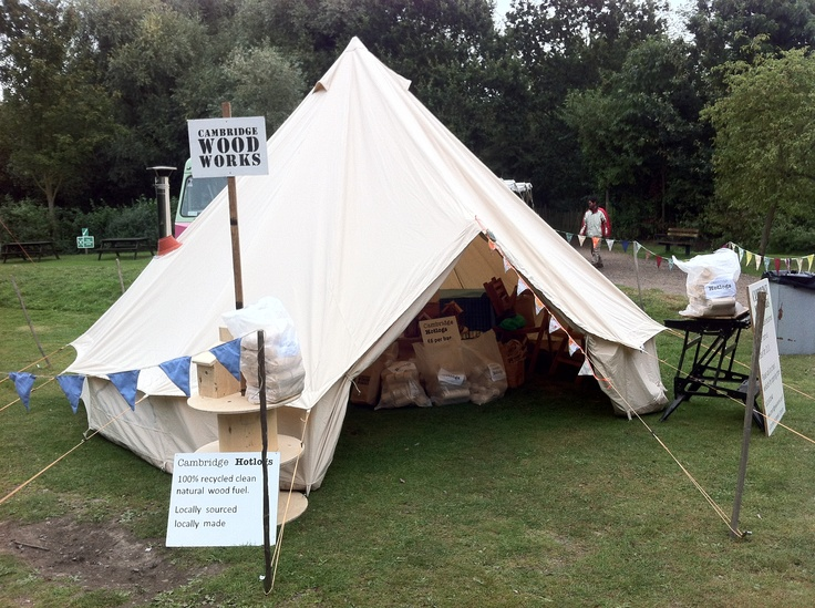 Our lovely @soulpad tent with 'blaze' stove burning our fabulous Cambridge #Hotlogs at Milton Country Park produce show 2012