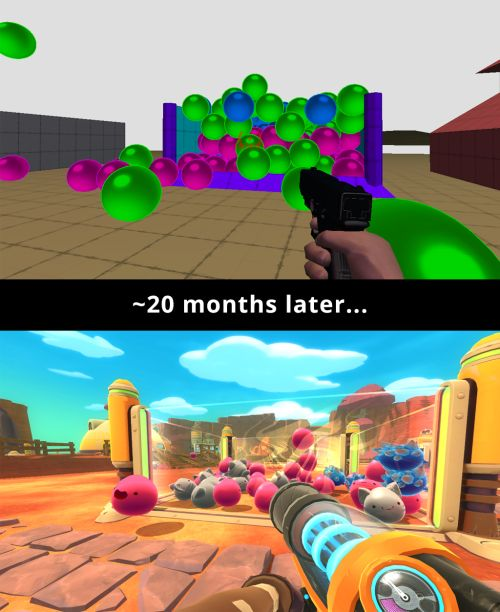 What a difference 20 months makes! Above is the Slime Rancher proof of concept with random assets. Below is our current pre-alpha build.It's coming along!