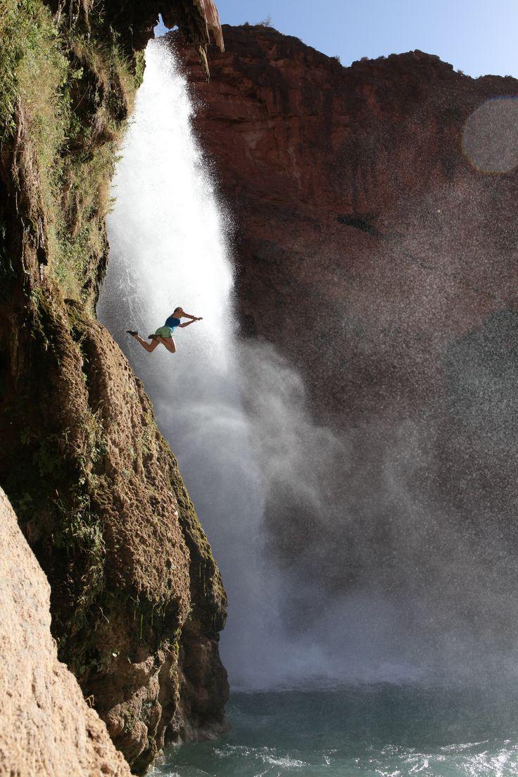 Cliff jumping at Havasupai Falls on a guided trip. AOA ...