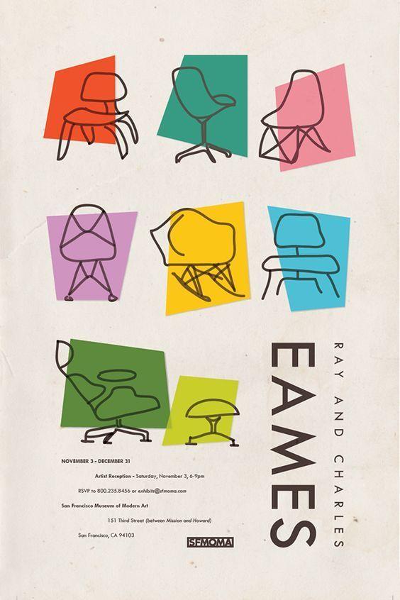 """printdesignclub: """"レイ・アンド・チャールズ・イームズのポスター - これはレイ・イームズの多くのデッサンと、チャールズが雑誌のカバーにした仕事のいくつかに基づいています。 - プリントデザイン """""""