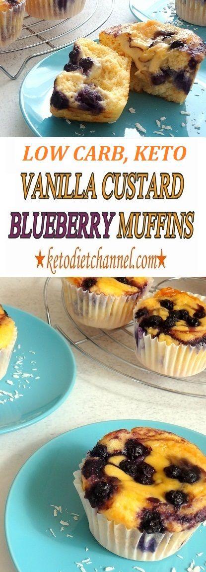 Vanilla Custard Blueberry Muffins - Keto, Low Carb, Gluten Free, Sugar Free