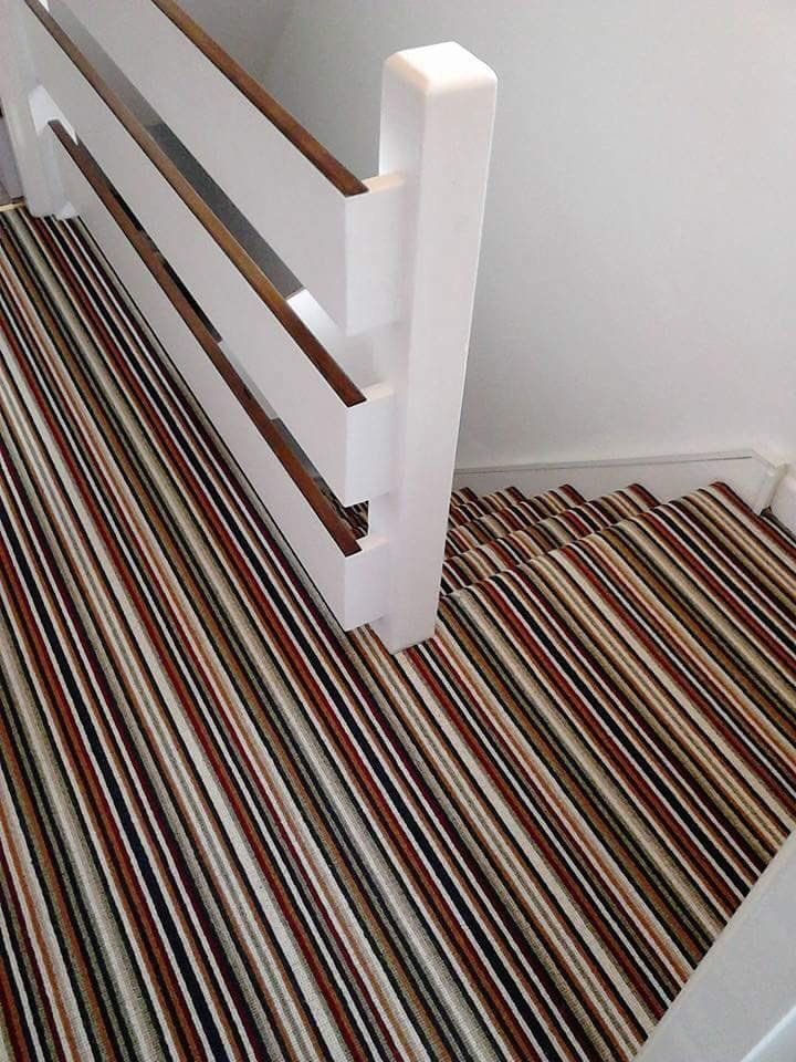 Beautiful and elegance. Colour-cordinated stripes look superb on the staircase and landing. All  stripes available via www.kingsmeadcarpets.co.uk