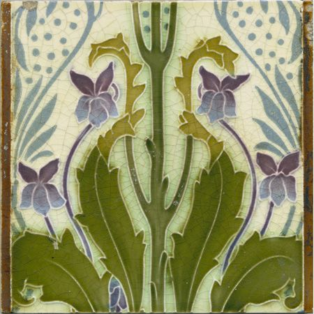 Violets and foliage. Art nouveau tile using a tube-lined technique very similar to the successionaist range of ceramics made by Mintons at around the same time.    Reg.