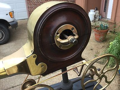 antique hand crank fireplace bellows mahogany brass easy project, a few screws 4