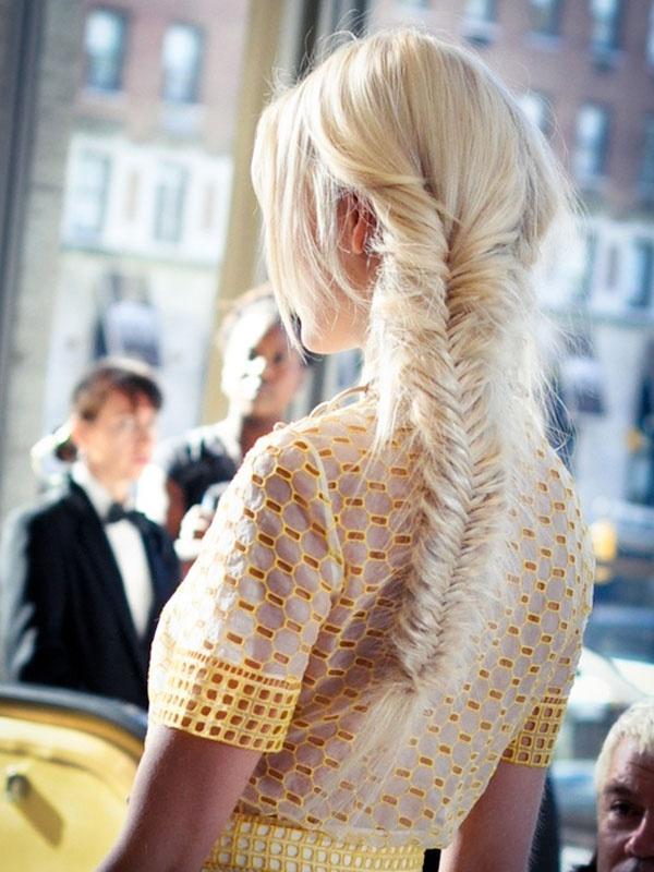 peroxide blonde fishtail braids [lela rose spring 2013]
