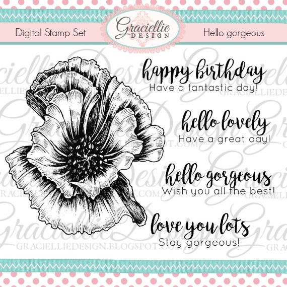 Hello Gorgeous  Digital Stamp Set by GraciellieDesign on Etsy