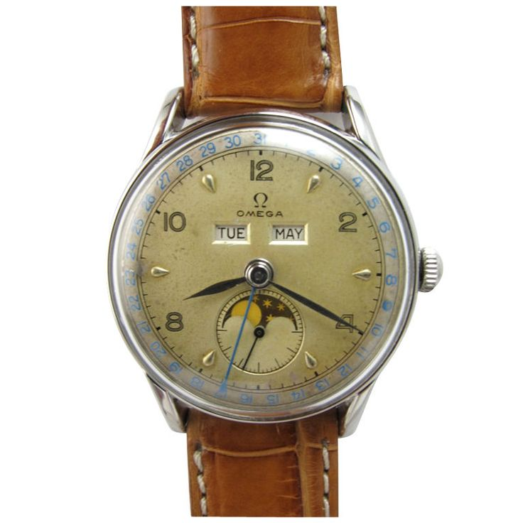 Would love to get this vintage watch for my hubby. : Omega SS triple calendar moonphase circa 1950's.