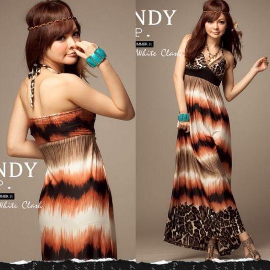 Bruine lange jurk