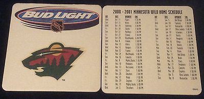 2000 2001 bud light minnesota wild #hockey #schedule #coaster new unused , View more on the LINK: http://www.zeppy.io/product/gb/2/222081206622/