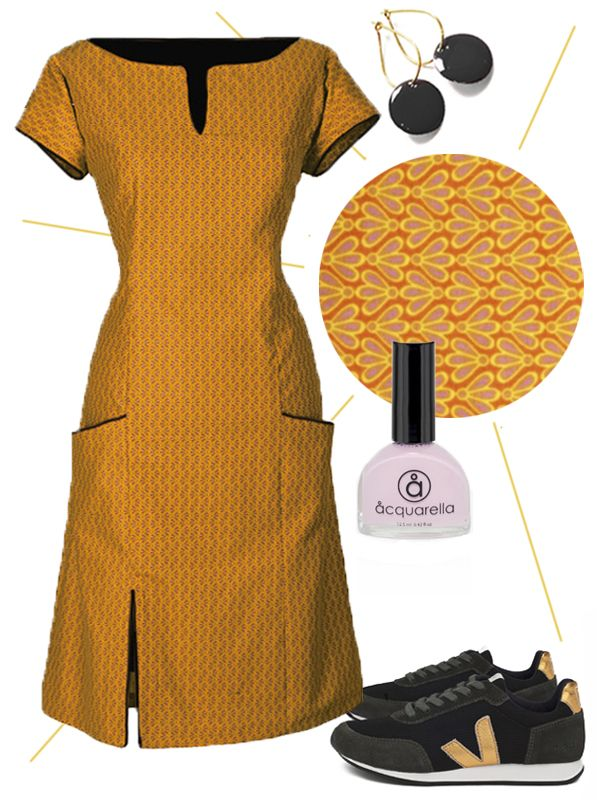 """Soon it's summer vacation. And what is more summer than this sunny yellow dress! Ecouture's idea of a summer look: Our """"Connie"""" dress with accessories: Our Black Dot-earrings. Sneakers from Veja - Made out of bottle mesh, recycled cotton and wild rubber. Aquarella - the only truly safe nail polish that is both water-based and non-toxic."""