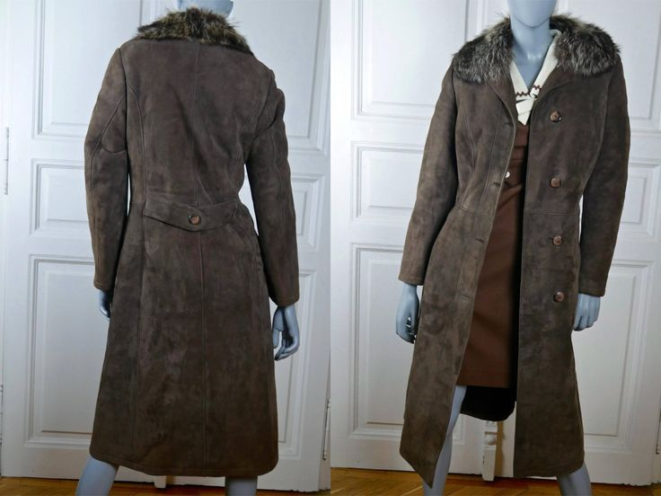 Women's Suede Coat, German Vintage Brown Suede Leather Winter Coat w Fur Collar & Warm Faux Fur Lining, Pristine Condition: 4/6 US, 8/10 UK by YouLookAmazing on Etsy