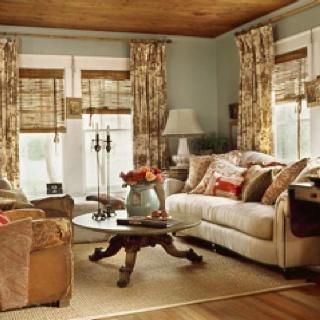 : Wall Colors, Cottages Living Rooms, Cottages Style, Decor Ideas, Curtains, Colors Schemes, Cottages Decor, Window Treatments, Wood Ceilings