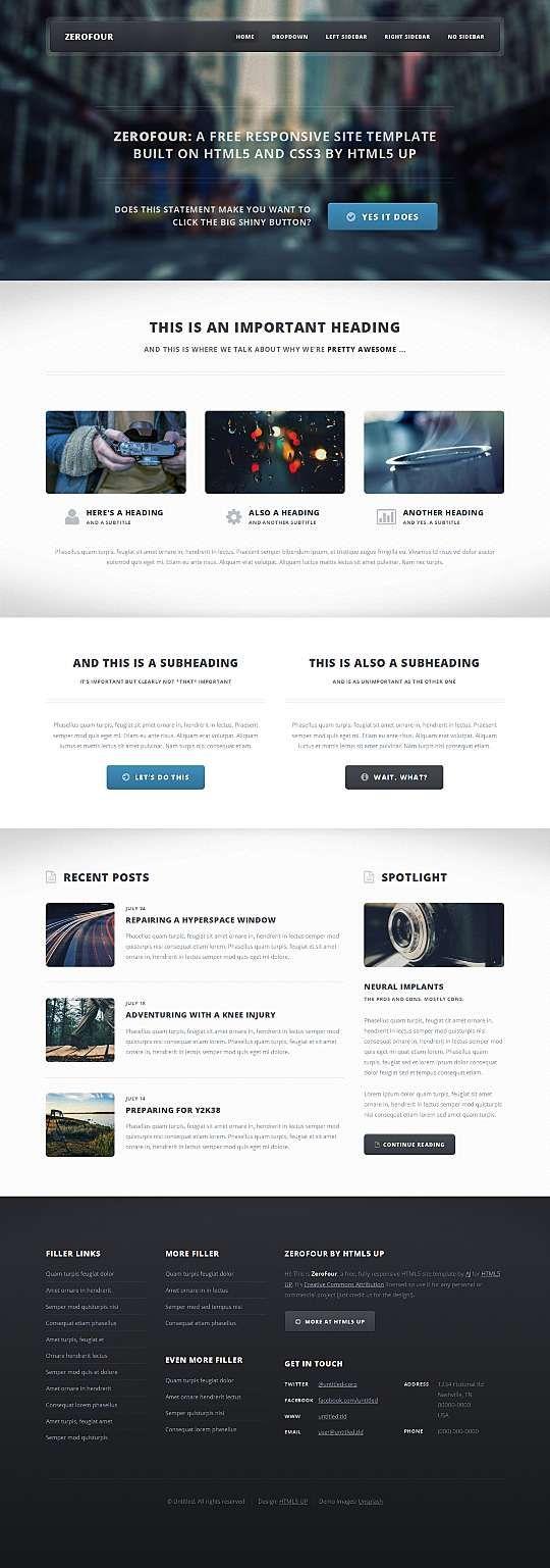 ZeroFour HTML Template  #Blog #Business #Html5 #Magazine #Mobile #Responsive Link: https://goo.gl/u1pX9w